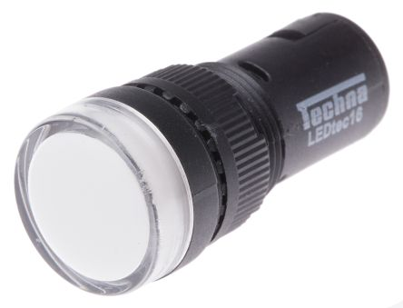 RS PRO , Panel Mount White LED Pilot Light, 16mm Cutout, IP40, Round, 24 V ac/dc