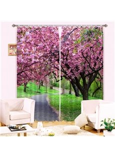 3D Beautiful Pink Peach Flowers and Green Grassland Printed Custom Curtain