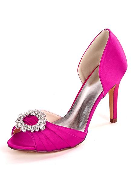 Milanoo Ivory Wedding Shoes Satin Rhinestones Peep Toe Stiletto Heel Bridal Shoes