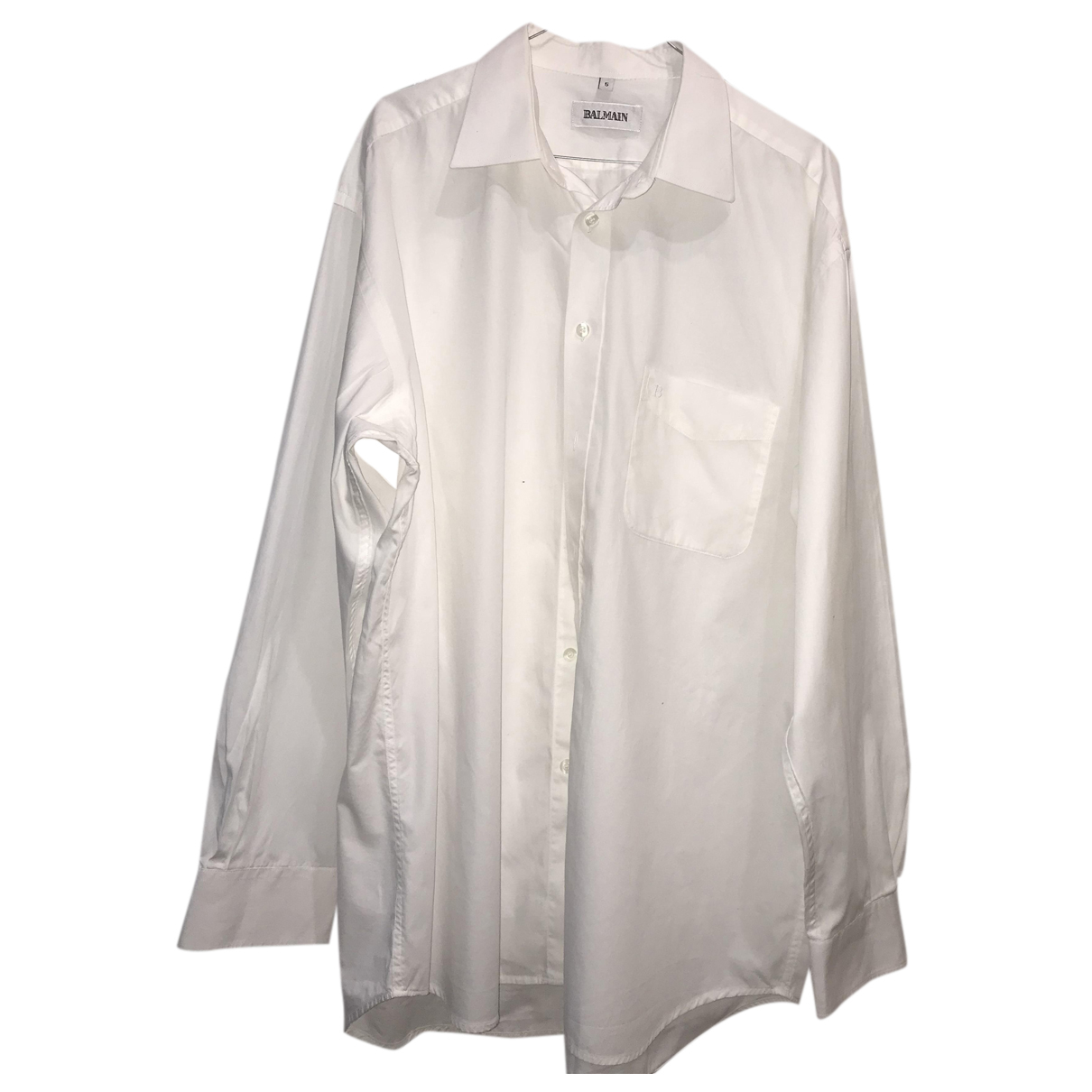 Balmain N White Cotton Shirts for Men XXL International