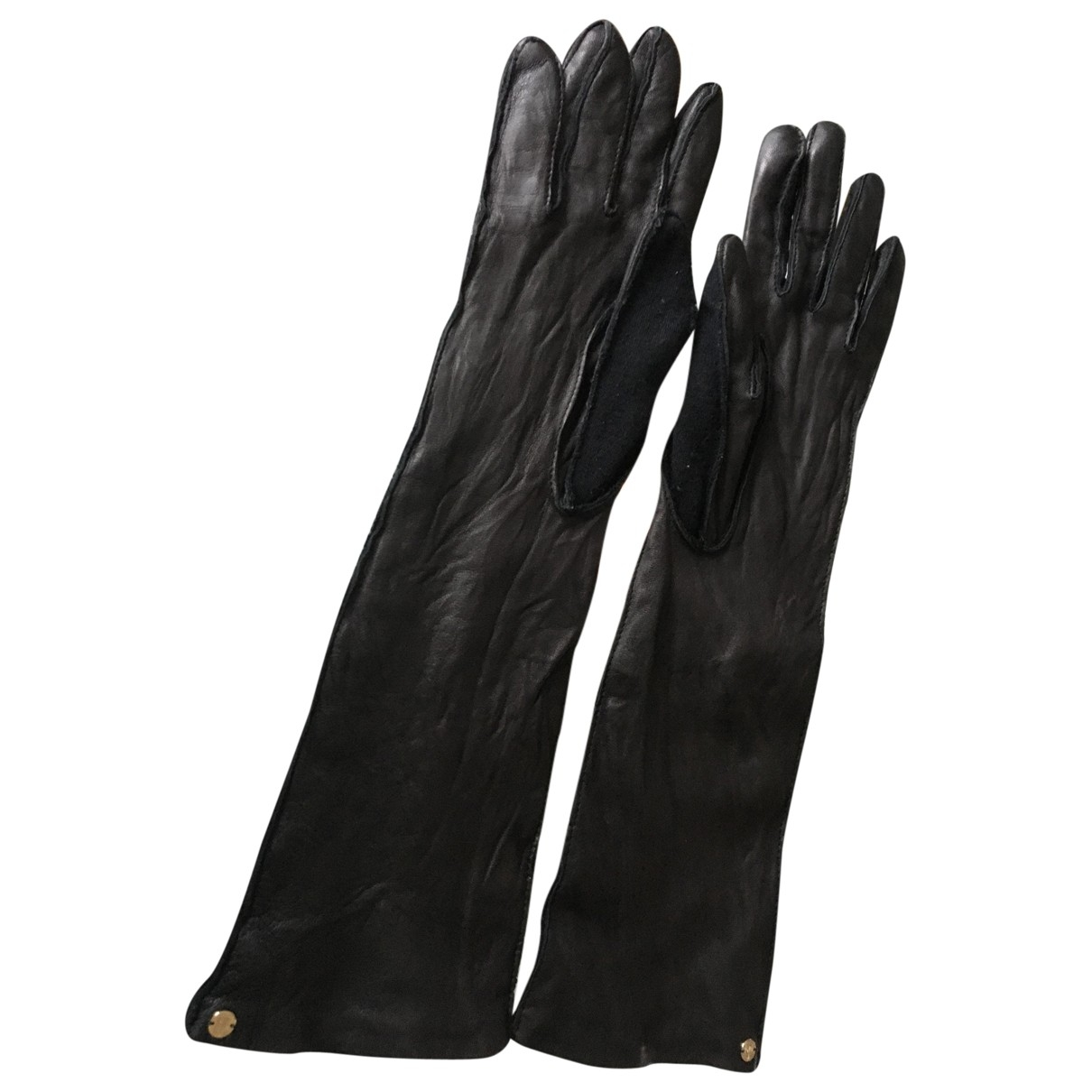 Lanvin \N Black Leather Gloves for Women 7.5 Inches