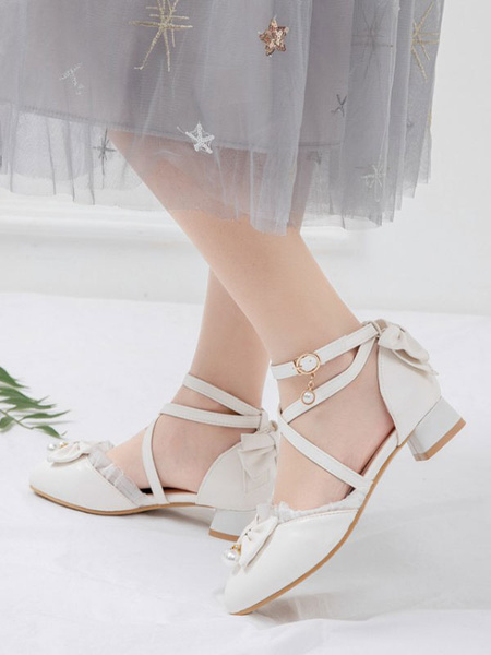 Milanoo Sweet Lolita Footwear Bows Ruffles PU Leather Puppy Heel Lolita Shoes