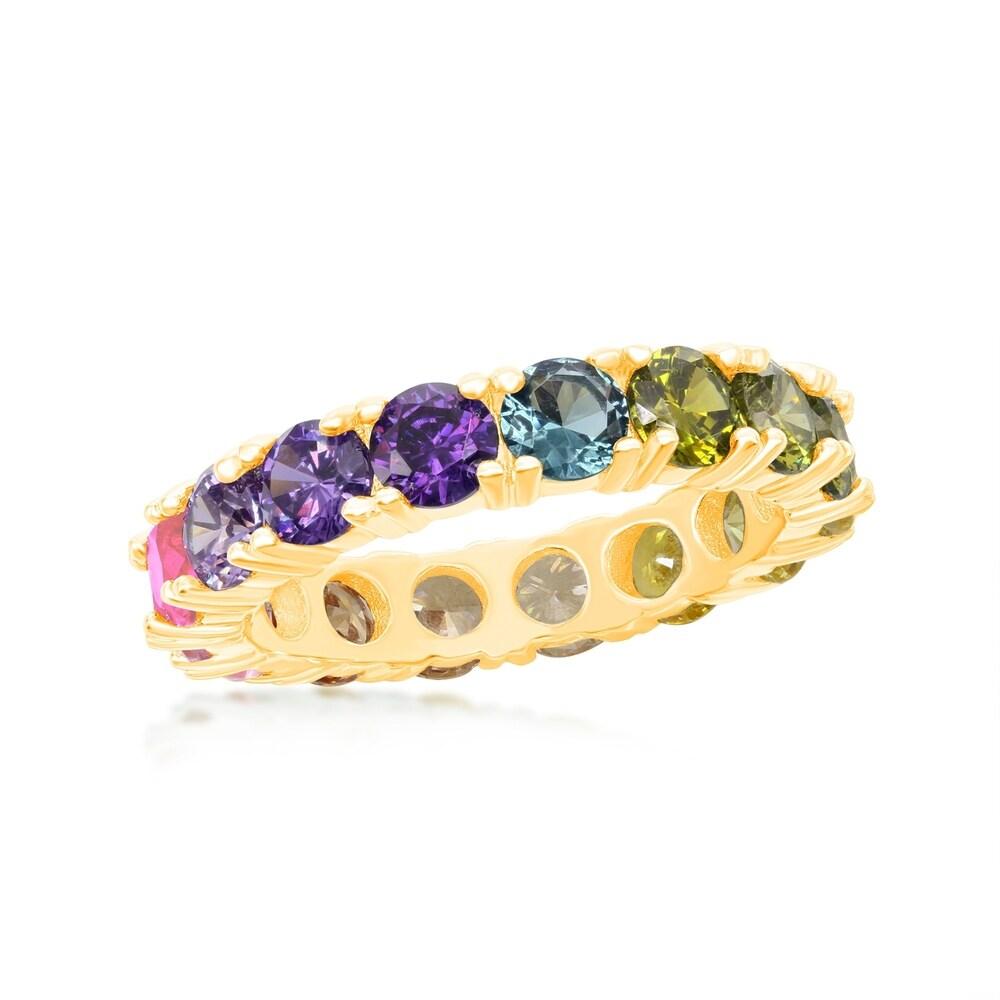 La Preciosa Sterling Silver 14K Gold Overlay Rainbow CZ Eternity Band Ring (8 - Yellow)