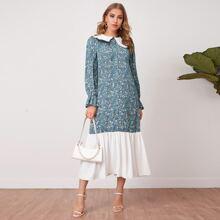 Kleid mit Kontrast Rueschen, Peter-pan Kragen, Schosschenaermeln und Gaensebluemchen Muster
