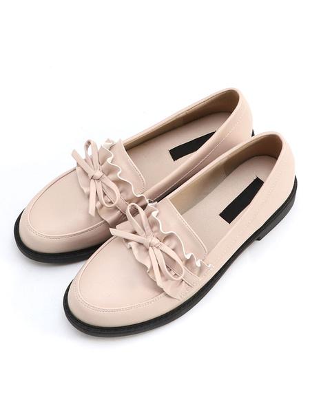 Milanoo Classic Lolita Shoes Bow Ruffle Deep Brown PU Lolita Pump