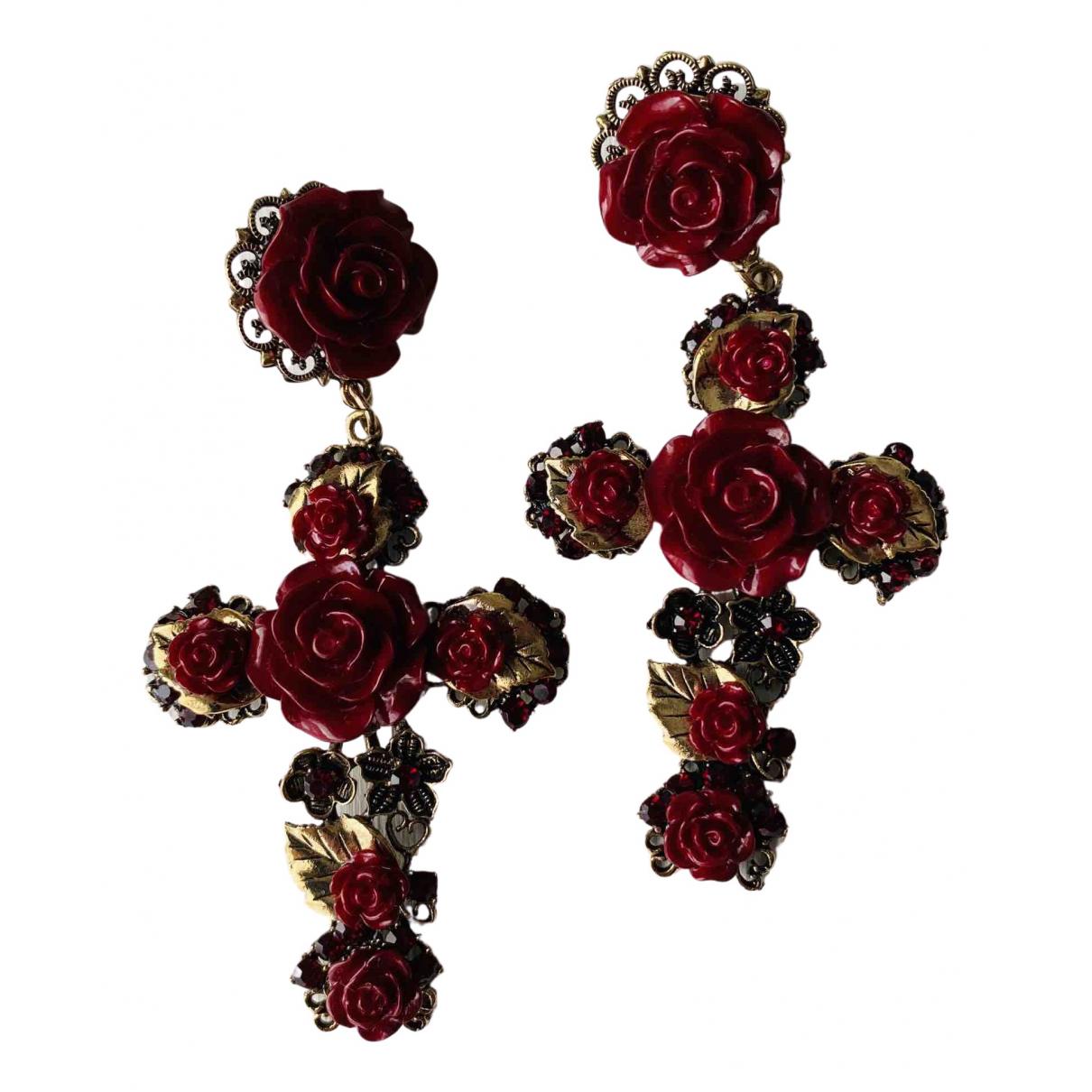 - Boucles doreilles Croix pour femme en metal - bordeaux