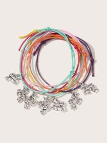 7pcs Kids Unicorn Charm String Bracelet