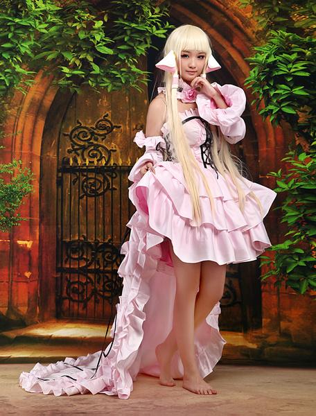 Milanoo Chobits Chii Halloween Cosplay Costume Pink Cute Lolita Dress Halloween