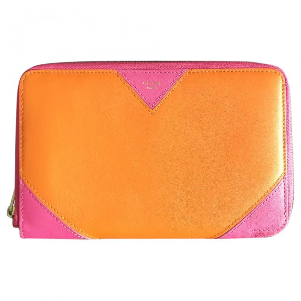 Celine \N Portemonnaie in  Orange Leder