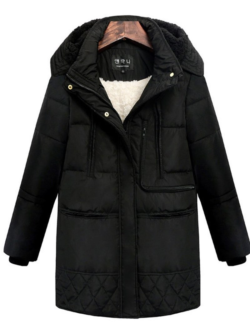 Ericdress Zipper Hooded Thick Patchwork Women's Coat