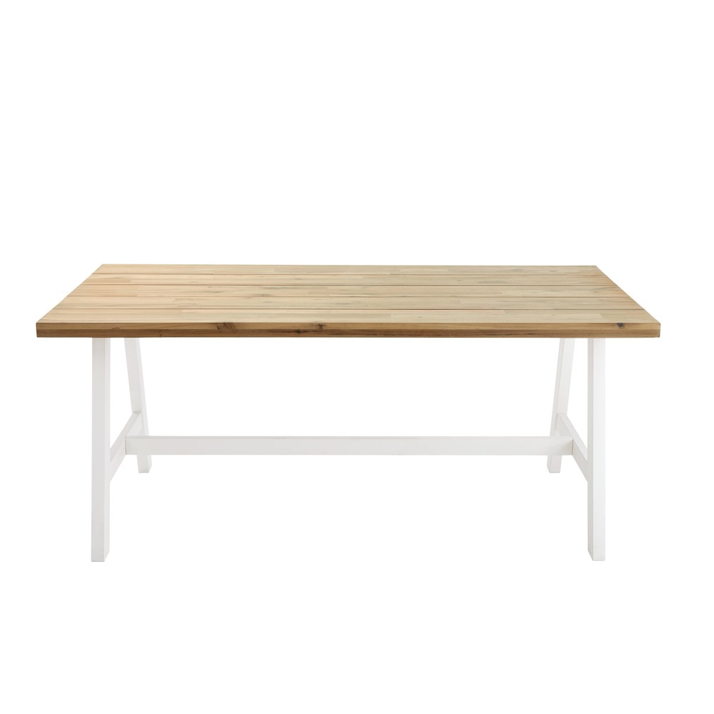 Gartentisch fuer 6-8 Personen aus Akazienholz und weissem Metall, L180 Countryside