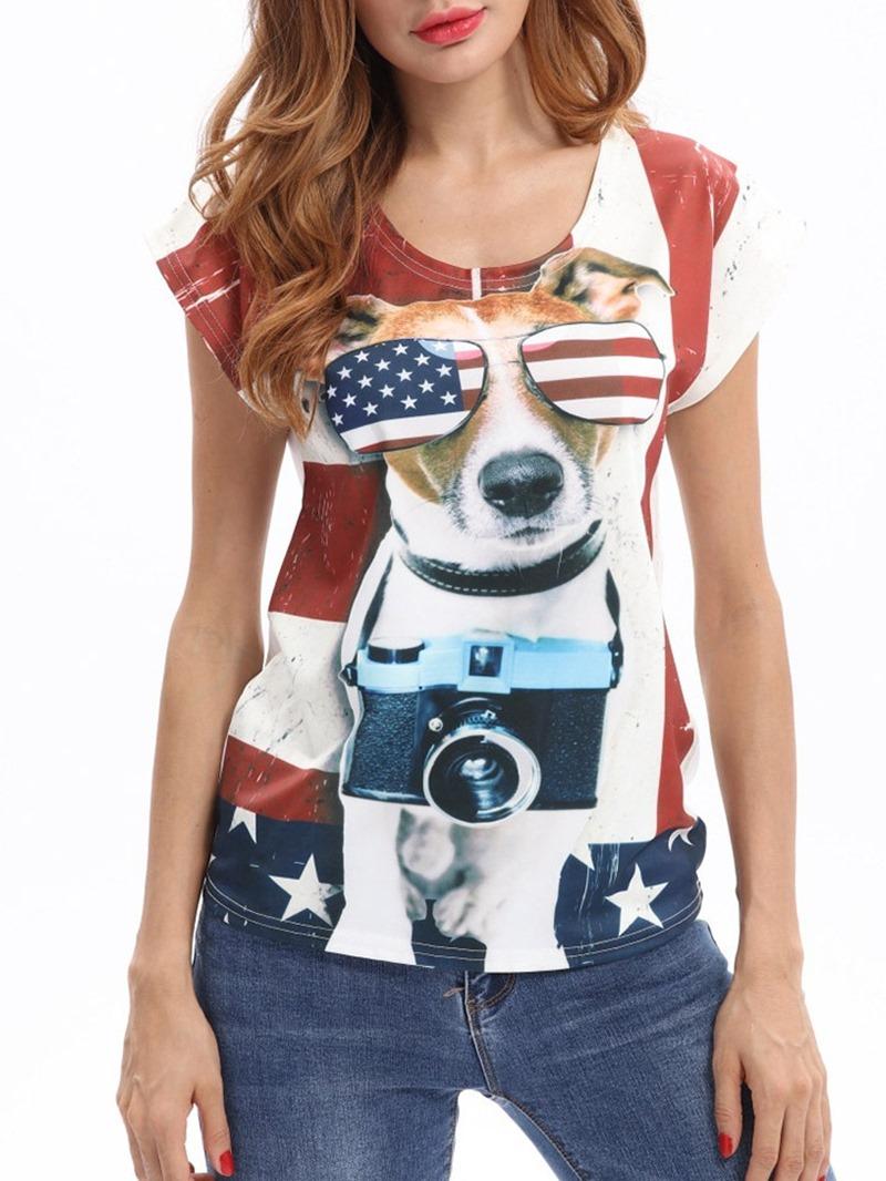 Ericdress Animal Color Block Short Sleeve Casual T-Shirt