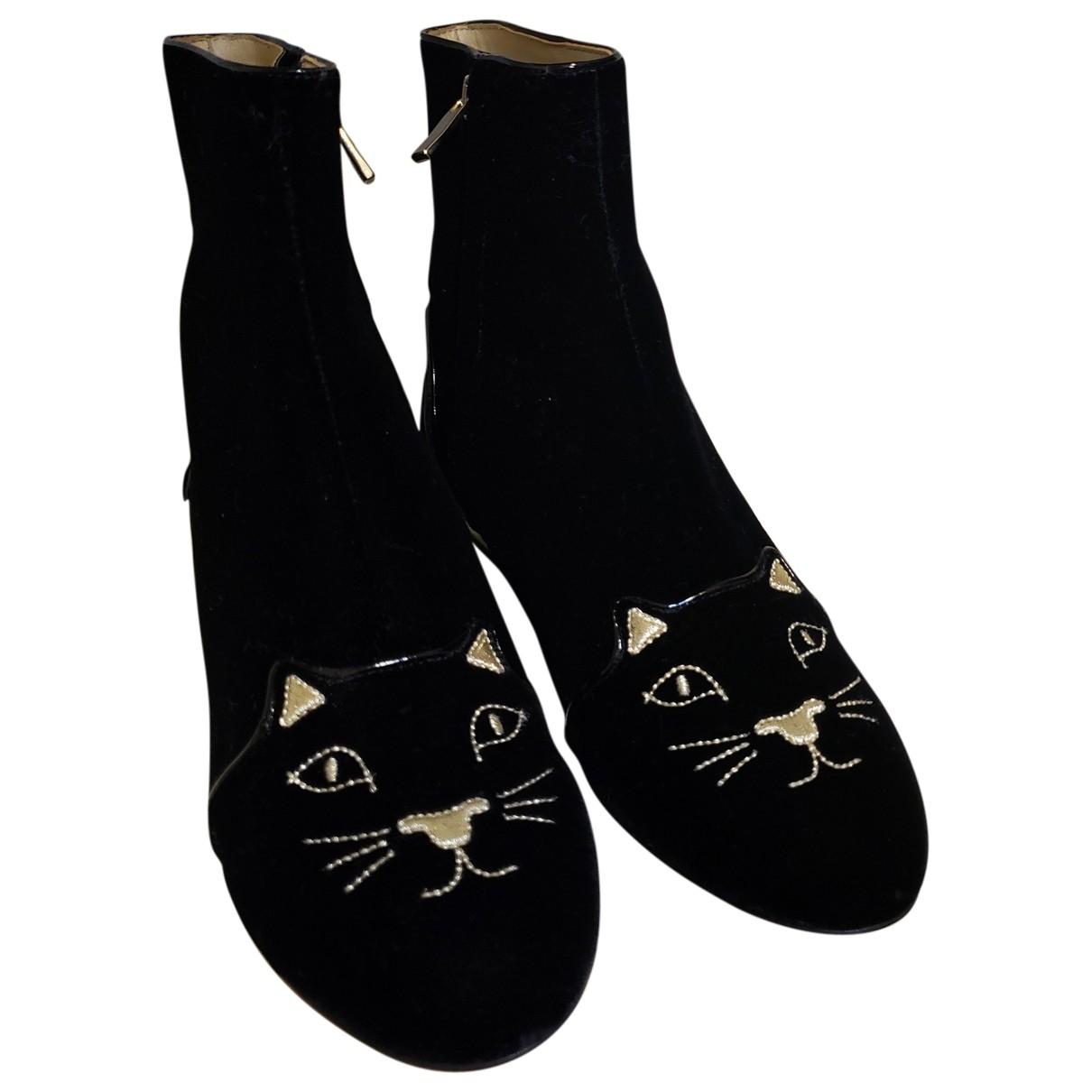 Charlotte Olympia - Boots   pour femme en velours - noir