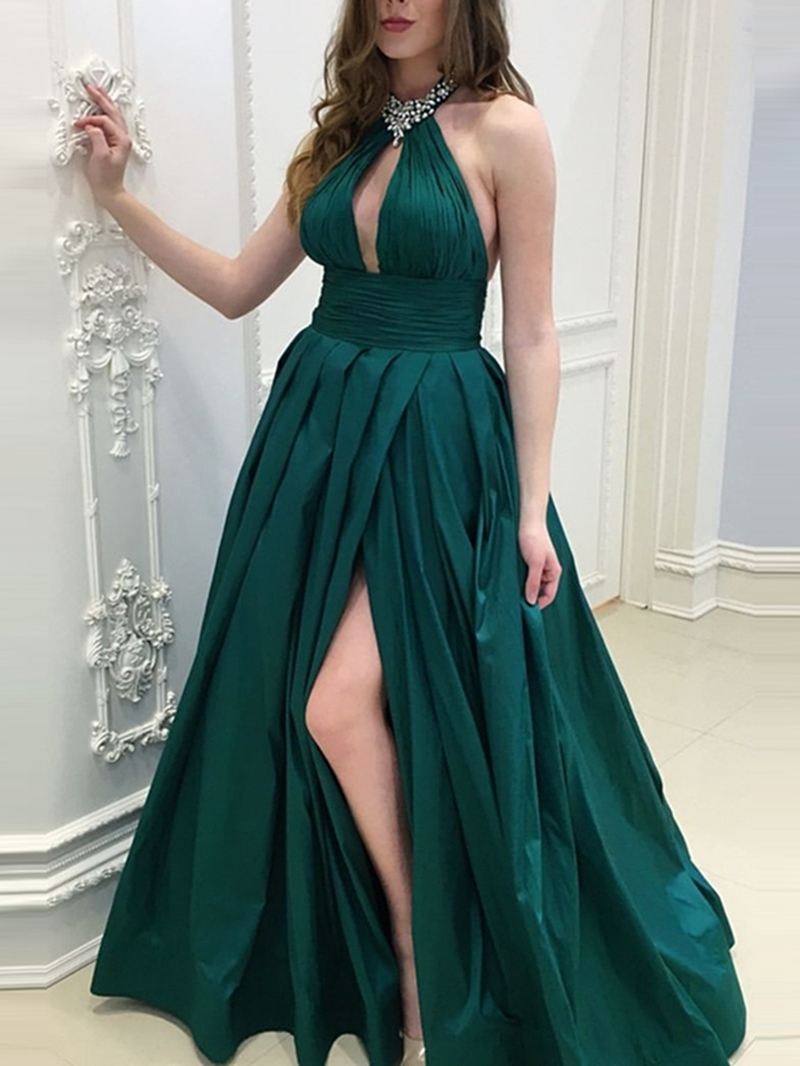 Ericdres Pleats A-Line Floor-Length Prom Dress