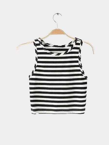 Yoins Round Neck Sleeveless Stripe Pattern Crop Top