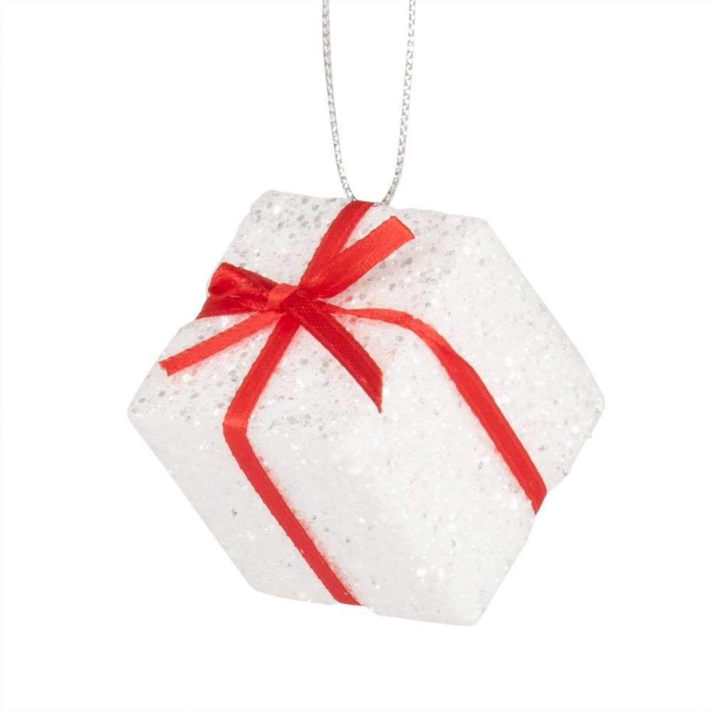 Weihnachtliche Haengedeko, weisses Geschenk mit Glitzer und rotem Band