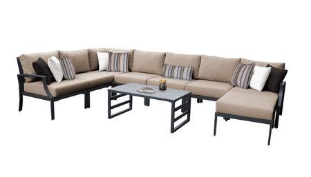 Lexington LEXINGTON-09d-WHEAT 9-Piece Aluminum Patio Set 09d with 1 Left Arm Chair  1 Right Arm Chair  1 Corner Chair  4 Armless Chairs  1 Ottoman