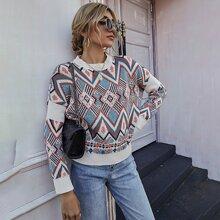 Strick Pullover mit Argyle Muster und Stehkragen