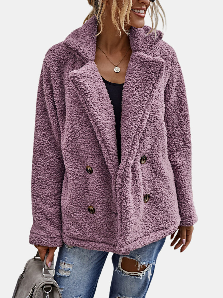 Solid Color Long Sleeve Turn-down Collar Pocket Coat For Women