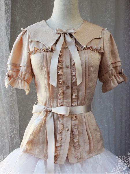 Milanoo Classic Lolita Blouses Magic Tea Party Chiffon Ruffles Bows Peter Pan Collar Short Sleeve Black Lolita Top