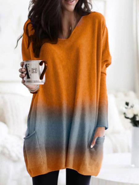 Milanoo Camisetas de manga larga para mujer Camiseta con cuello en V de color naranja de poliester con bloque Ombre para mujer