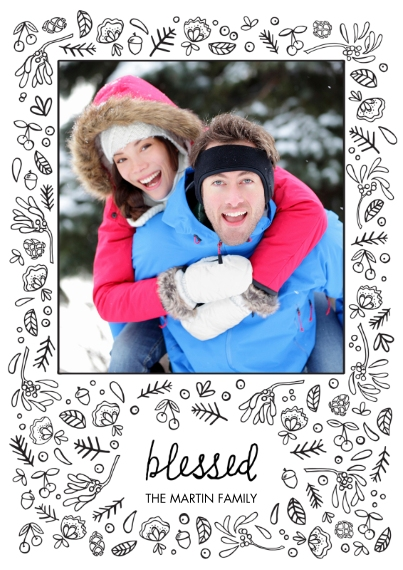 Religious Christmas Cards 5x7 Cards, Premium Cardstock 120lb with Scalloped Corners, Card & Stationery -Bountifully Blessed