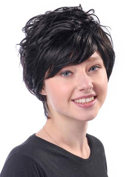Milanoo Corto Negro pelucas rizadas Boycut resistente al calor peluca de pelo de la fibra para las mujeres