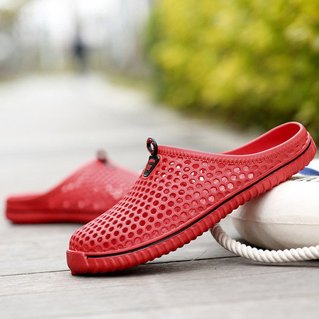 Yoins Red Hollow Design Breathable Beach Flat Sandals