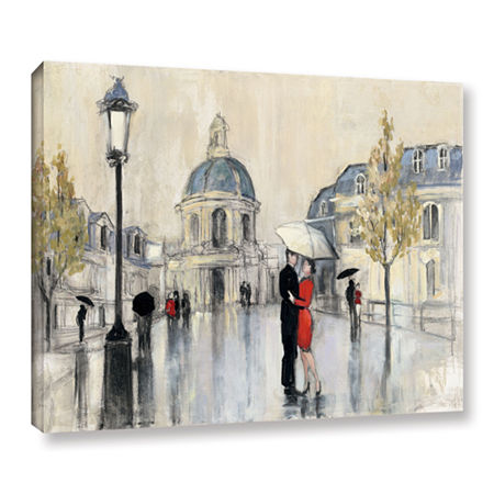Brushstone Spring Rain Paris Gallery Wrapped Canvas Wall Art, One Size , White