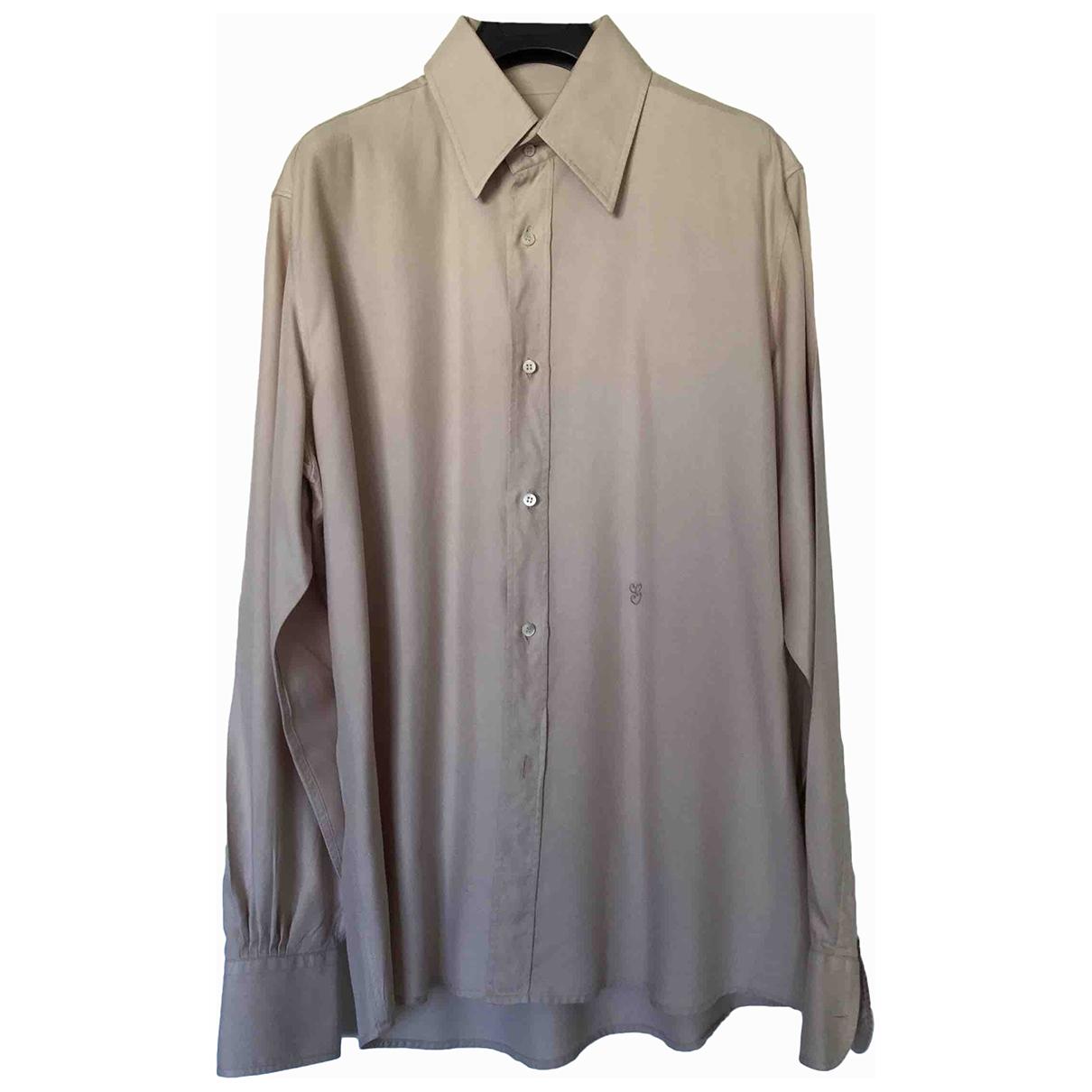 Gucci \N Beige Silk Shirts for Men 41 EU (tour de cou / collar)