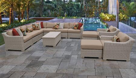 Coast Collection COAST-13a-WHEAT 13-Piece Patio Set 13a with 1 Corner Chair   4 Armless Chair   2 Ottoman   1 End Table   1 Storage Coffee Table   2