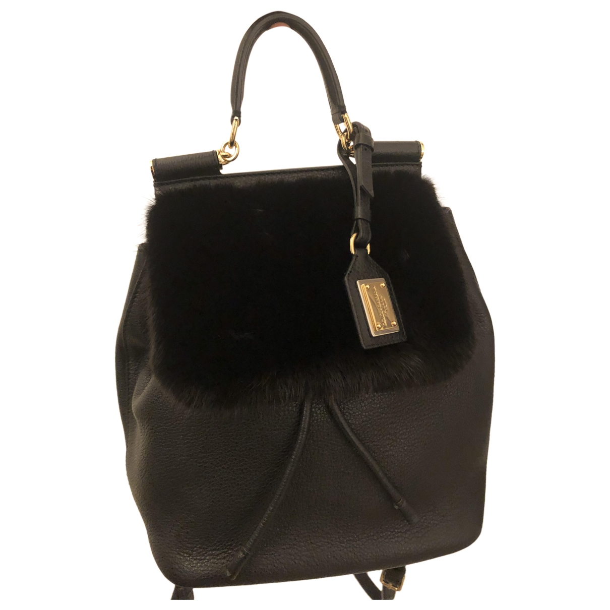 Dolce & Gabbana - Sac a dos Sicily pour femme en cuir - noir