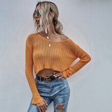 Solid Crop Ribbed Knit Sweater