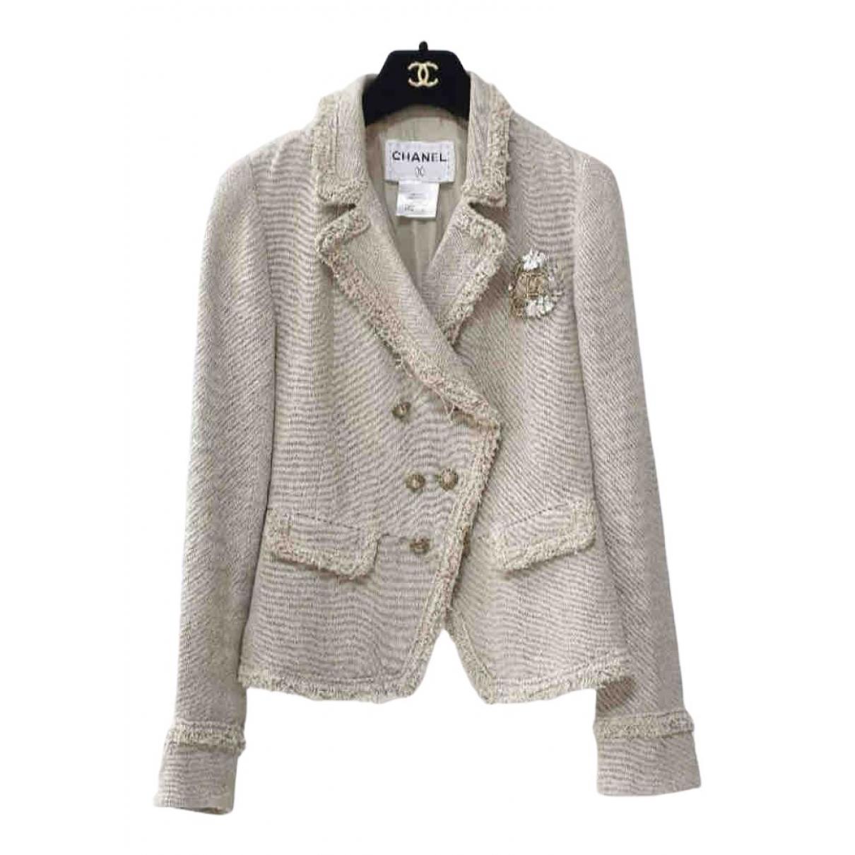Chanel N Beige Linen jacket for Women 38 FR