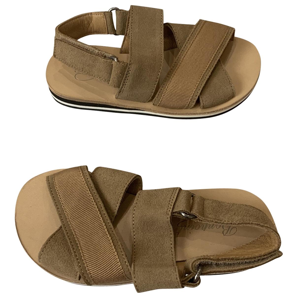 Bonpoint - Sandales   pour enfant en suede - beige