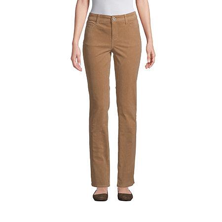 St. John's Bay Womens Mid Rise Straight Corduroy Pant, 12 Petite , Beige