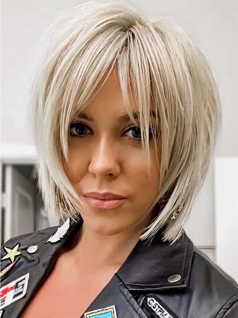 Ericdress Women's Short Shaggy Layered Hairstyles Blonde Color Straight Synthetic Hair Capless Wigs 12Inch