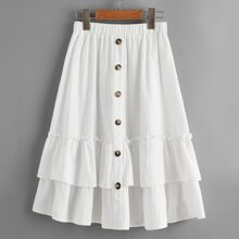 Girls Button Up Frilled Layered Ruffle Skirt