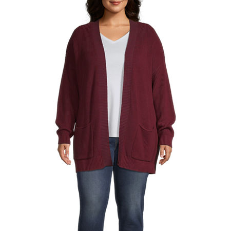 a.n.a-Plus Womens Long Sleeve Open Front Cardigan, 3x , Purple