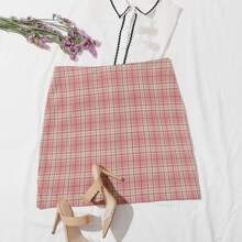 Plus Tartan Zipper Back Straight Skirt