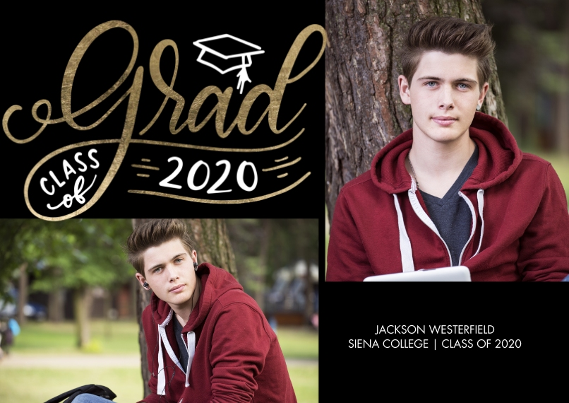 2020 Graduation Announcements 5x7 Cards, Standard Cardstock 85lb, Card & Stationery -Grad 2020 Cap by Tumbalina