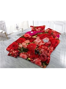 Red Pink Roses Wear-resistant Breathable High Quality 60s Cotton 4-Piece 3D Bedding Sets