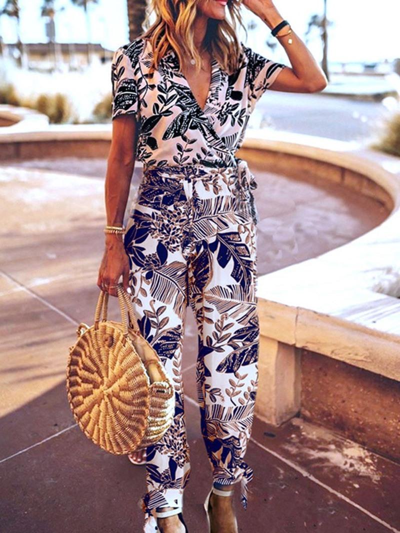 Ericdress Ankle Length Floral Print Loose Jumpsuit