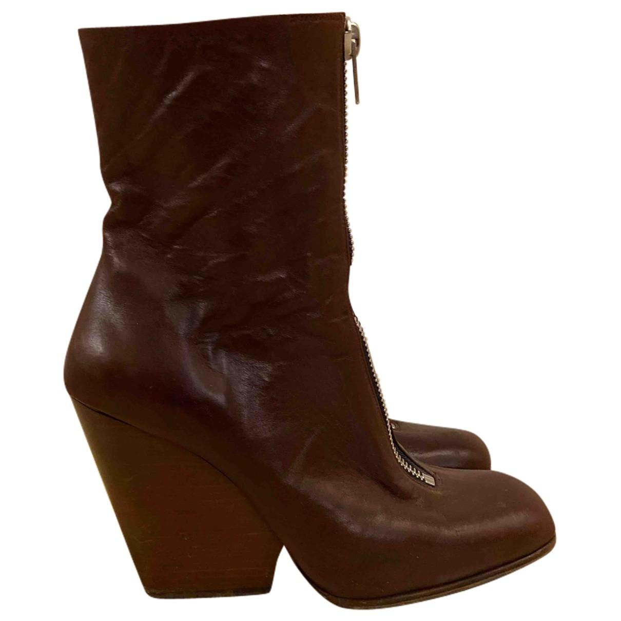 Celine \N Burgundy Leather Boots for Women 38.5 EU