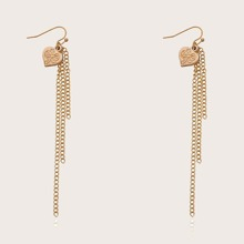 Heart Tassel Drop Earrings