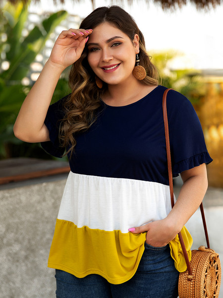 Yoins Plus Size Multicolor Patchwork Short Sleeves Tee