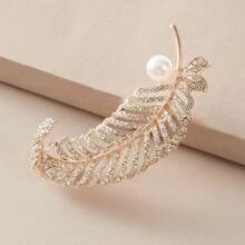 1pc Faux Pearl Decor Leaf Shaped Brosche