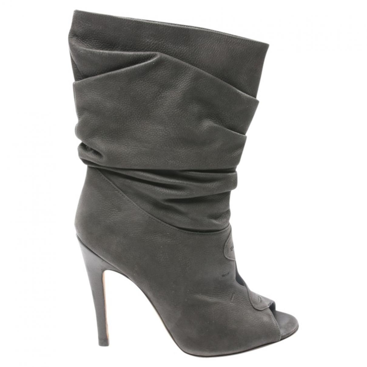 Manolo Blahnik - Boots   pour femme en cuir - noir