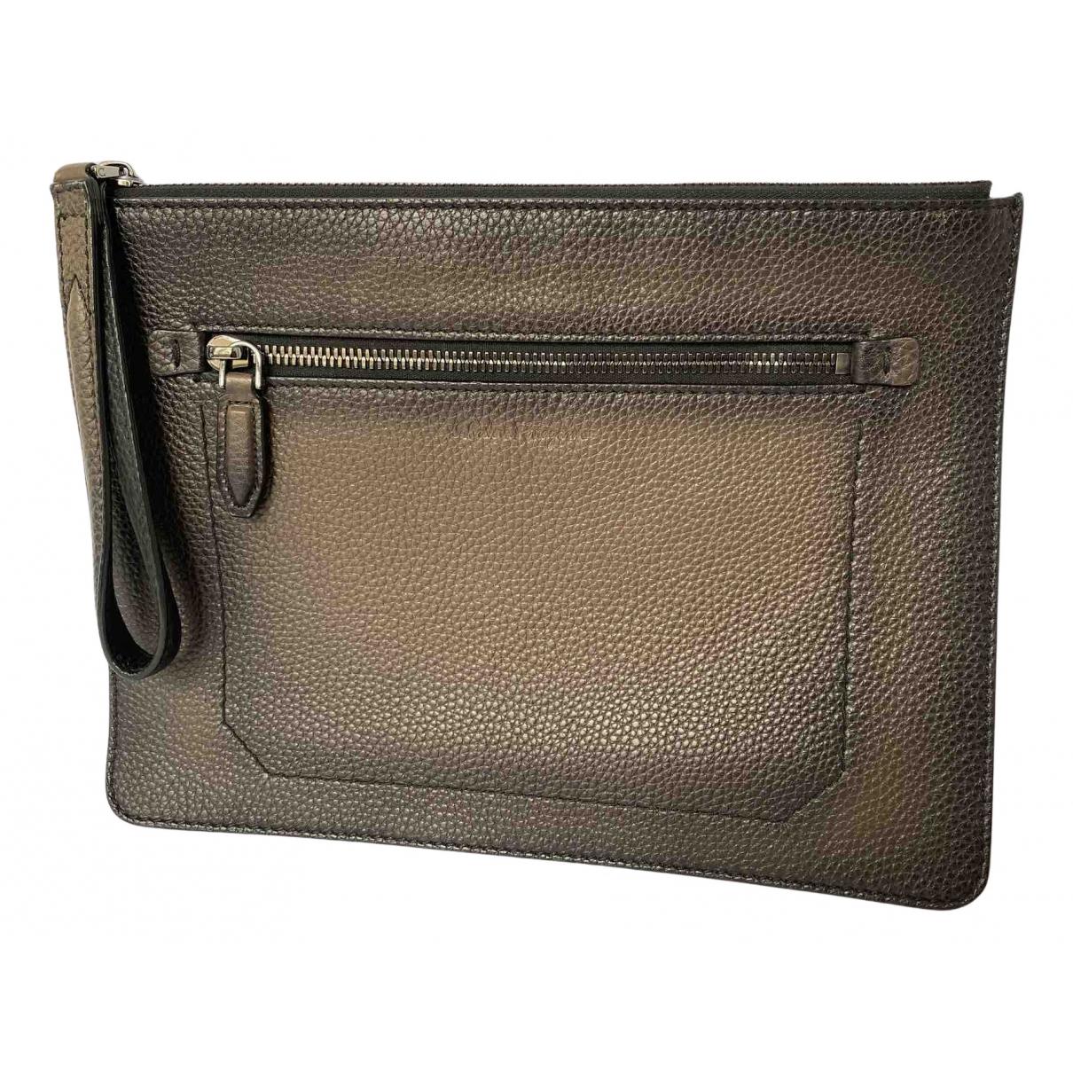 Salvatore Ferragamo N Grey Leather Small bag, wallet & cases for Men N