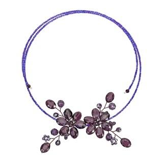 Handmade Sparkling Crystal Floral Bouquet Wraparound Choker Necklace (Thailand) (Purple - Purple)